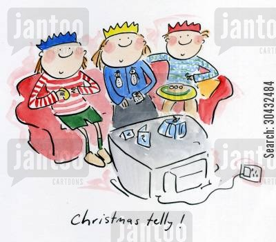 christmas day cartoon humor: Christmas telly!