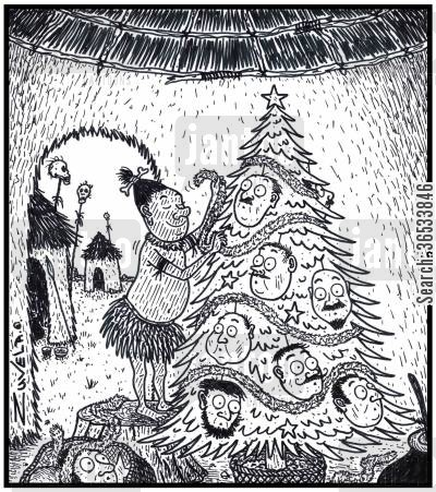missionary cartoon humor: A male CannibalHeadhunter decorating his Xmas tree with Human heads for Baubles