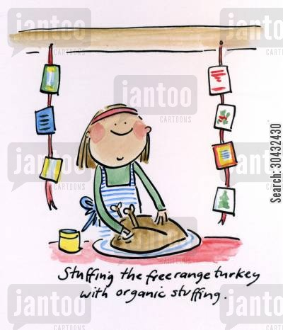 christmas meal cartoon humor: Stuffing the turkey.