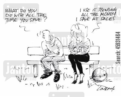 january sales cartoon humor: 'What do you do with the time you save?'