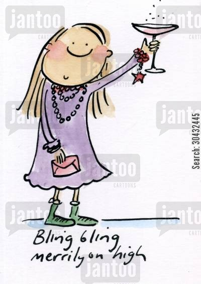 christmas presents cartoon humor: Bling bling merrily on high.