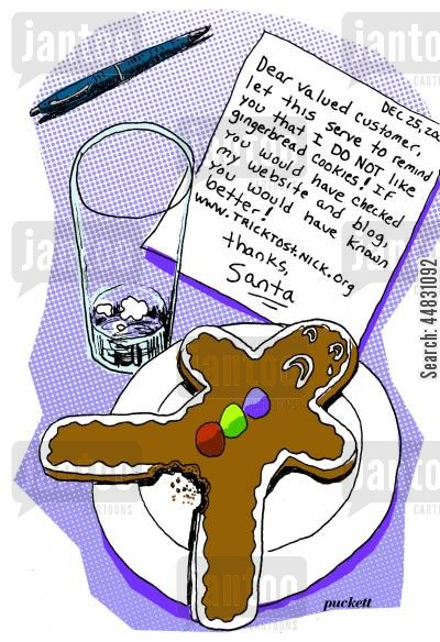 blog cartoon humor: Santa takes a bite out of a gingerbread cookie in a questionable location-he leaves a note directing the residents to his websiteblog . .