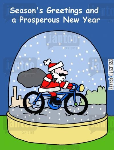 christmas message cartoon humor: Season's Greetings and a Prosperous New Year.