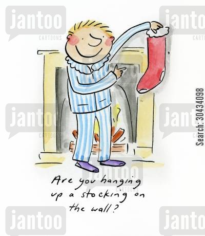 clause cartoon humor: Are you hanging up a stocking on the wall?