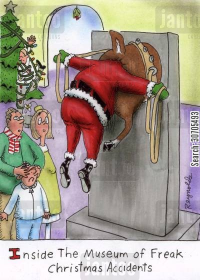 christmas museum cartoon humor: Inside the Museum of Freak Christmas Accidents.