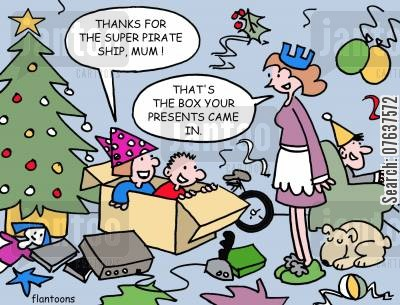 christmas day cartoon humor: 'That's the box your presents came in.'