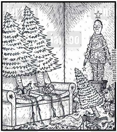 aroma cartoon humor: A Human Male Christmas tree in the corner of a Pine tree family's home on Christmas day.