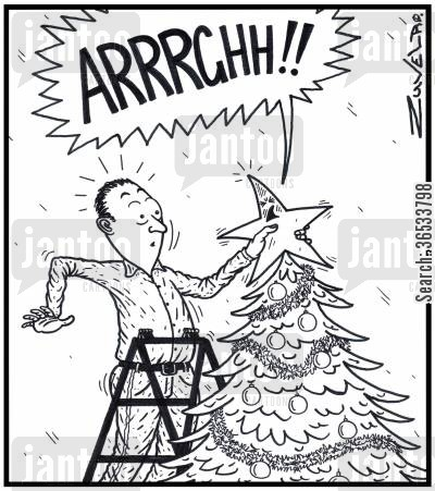 dressing cartoon humor: Xmas tree star: 'ARRRGHH!!' A star has had his rear-end rammed onto the pointy end of a xmas tree