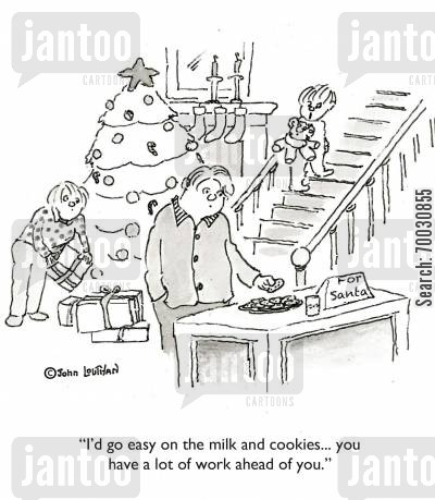 cookies cartoon humor: 'I'd go easy on the milk and cookies... you have a lot of work ahead of you.'