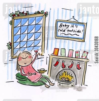 christmas day cartoon humor: Baby it's cold outside.