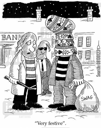 swag cartoon humor: 'Very festive.'