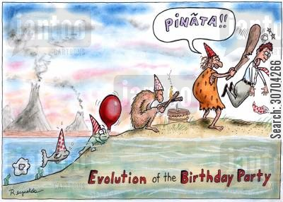 human cartoon humor: Evolution of the Birthday Party.
