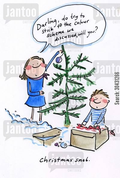 tinsel cartoon humor: Christmas Snob