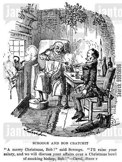 reformed cartoon humor: Scrooge and Bob Cratchit