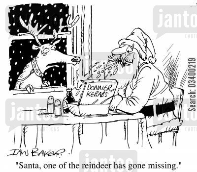 kebabs cartoon humor: Santa's doner kebab - Santa, one of the reindeer has gone missing.