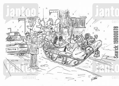 drink driving cartoon humor: Santa being caught drink driving.