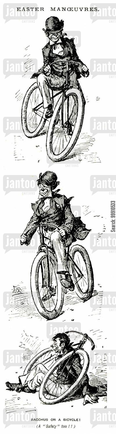 inebriated cartoon humor: Drunken cyclist