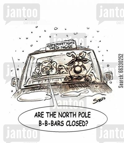 christmas party cartoon humor: Are the North Pole bars closed?
