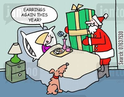 earring cartoon humor: Earrings again this year?