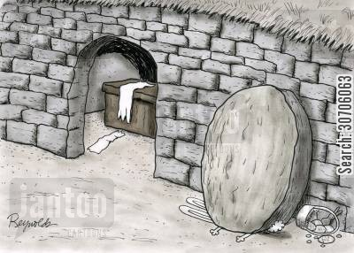 arisen cartoon humor: Easter Bunny crushed by Jesus' tomb stone.