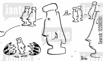 easter sunday cartoon humor: Easter egg on Easter island breaking open to reveal a baby Easter island statue