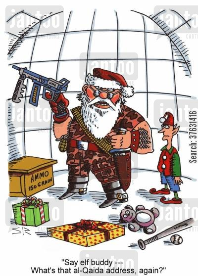 mercenary cartoon humor: Rambo Santa.