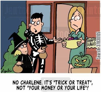 trick or treaters cartoon humor: Trick or Treat!