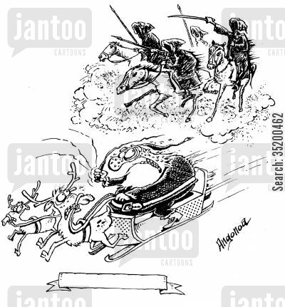 pestilence cartoon humor: Santa on sleigh being chased by the four horsemen of the apocalypse