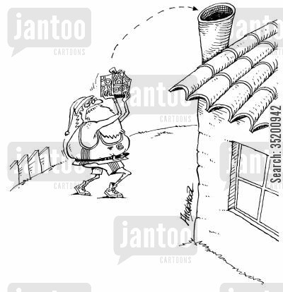 throws cartoon humor: Santa throwing a present into a chimney.