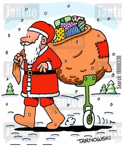 support cartoon humor: Santa with a support for his sack.