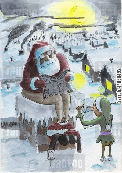 store santa cartoon humor: Santa 'does his business' down chimney.