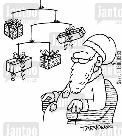 decor cartoon humor: Santa with a mobile made from presents (black and white).