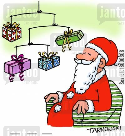decor cartoon humor: Santa with a mobile made from presents.