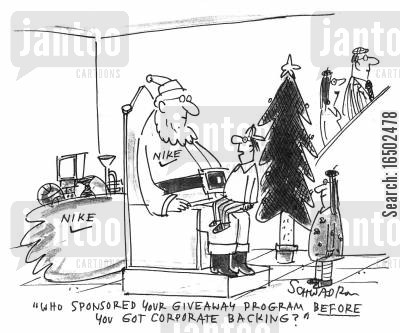 corporate sponsorship cartoon humor: 'Who sponsored your giveaway program before you got corporate backing?'