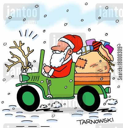 pick up truck cartoon humor: Santa driving a truck.