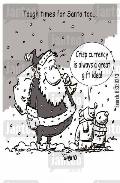 delivering presents cartoon humor: Crisp currency is always a great gift idea!