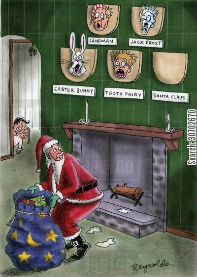 sandman cartoon humor: Santa in house sees SandmanJack FrostEaster BunnyTooth Fairy with spare space for Santa Claus.