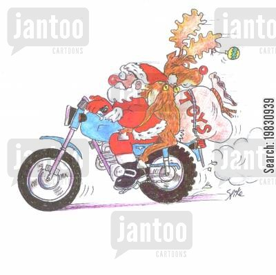 delivering presents cartoon humor: Santa on motorbike.