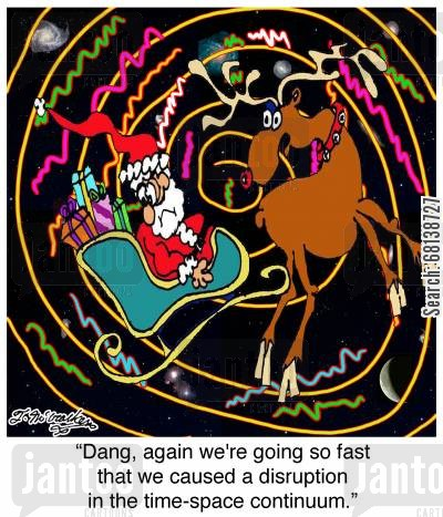 space craft cartoon humor: 'Dang, again we're going so fast that we caused a disruption in the time-space continuum.'