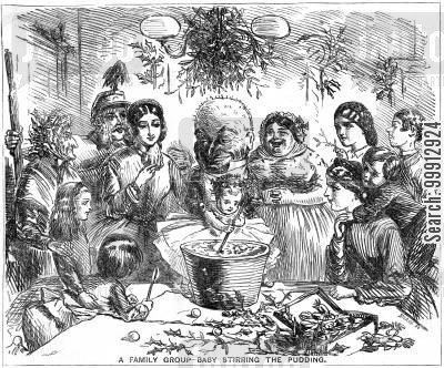yule cartoon humor: A Family Group - Baby Stirring the Pudding