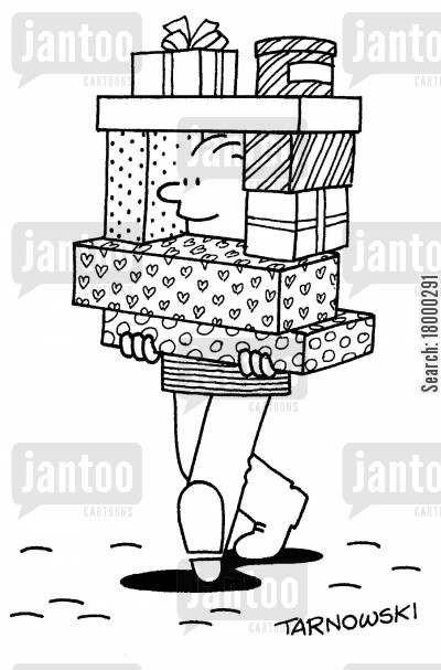 load cartoon humor: Peephole in a pile of presents.