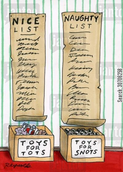good behavior cartoon humor: Santa's naughty list and nice list.