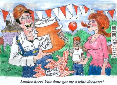 jug cartoon humor: 'Lookee here! You done got me a wine decanter!'