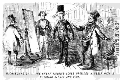 tailoring cartoon humor: Michaelmas Day. The cheap tailor's goose provides himself with a shooting jacket and vest.