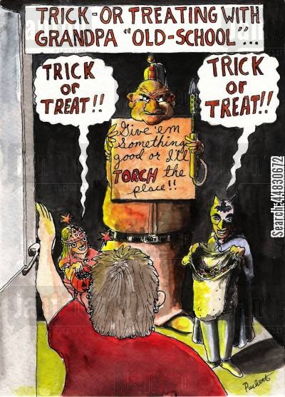 grandpa cartoon humor: Trick or treat...