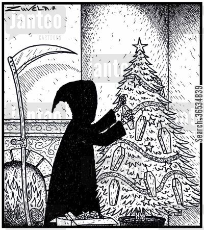 grims cartoon humor: The Grim Reaper decorating his Christmas tree with Coffins
