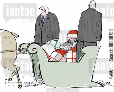protector cartoon humor: Father Christmas with bodyguards.