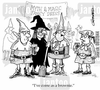 fancy dress parties cartoon humor: 'I've come as a brownie.'