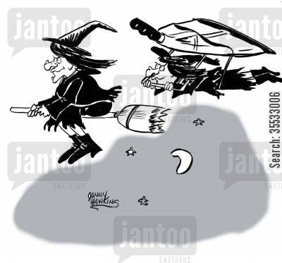 housekeeping cartoon humor: Witch on broom followed by witch on hangglider dustpan
