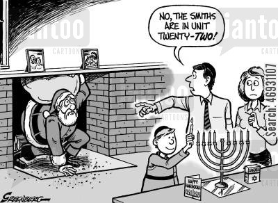 religious celebrations cartoon humor: Hanukkah Santa: 'No the Smiths are in unit twenty two.'